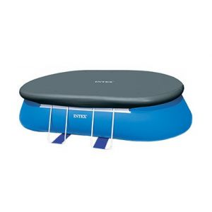 Zwembad afdekking Intex Easy Set ovaal 975 x 366 gemonteerd