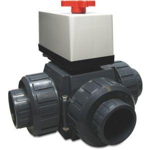 PVC 3-weg kogelkraan 50 mm / 230 Volt voorkant voorbeeld
