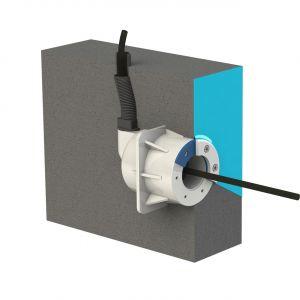 Spectravision wanddoorvoer voor baden met wanden in beton of steen, voor liner en mozaiek baden voorbeeld