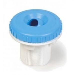 Witte wanddoorvoer met adria blauwe nozzle voorkant